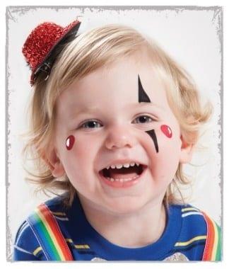 Ideias e truques para Pinturas Faciais para o Halloween: maquilhagem palhaço
