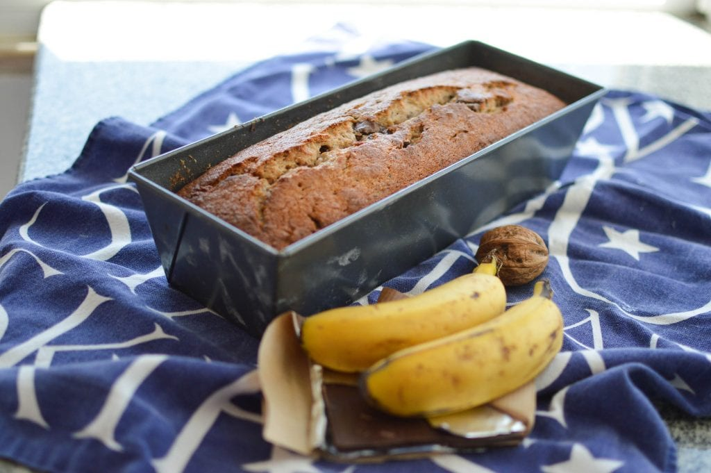 Receita bolo banana, nozes pepitas chocolate