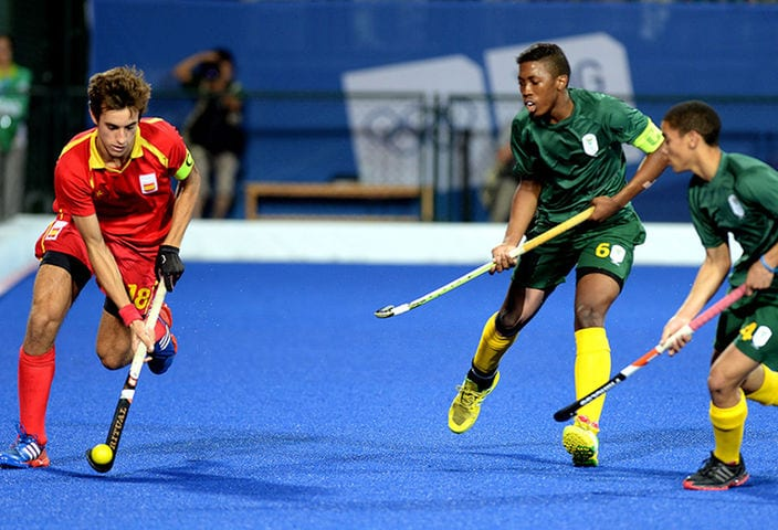 Llorenc Piera Grau of Spain in the Men Bronze Medal Match of Hockey