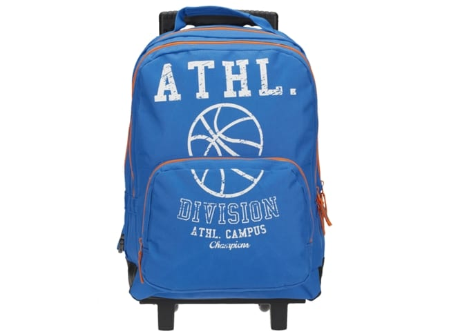 mochila azul com letras sport zone