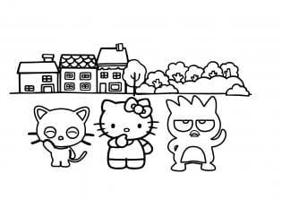 Desenho pintar Hello Kitty seus amigos