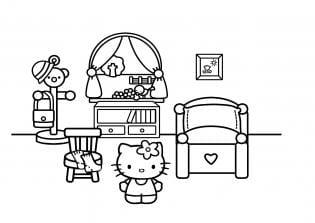 Desenho pintar Hello Kitty quarto