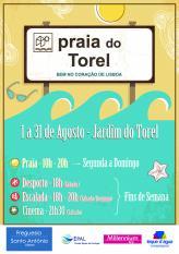 Lisboa praia urbana Agosto Jardim Torel