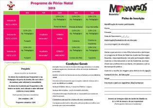 Programa Férias Natal Academia Morangos Boavista
