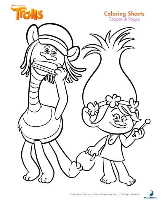Desenho para colorir trolls