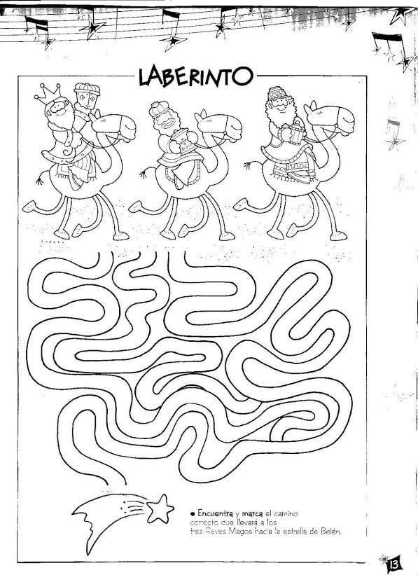 Ficha com Labirinto Dia dos Reis Magos