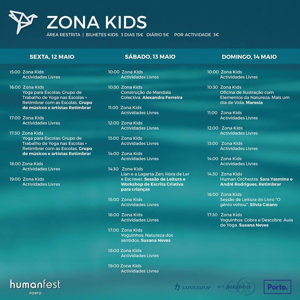 Programa Kids Zone no Human Fest Porto 2017