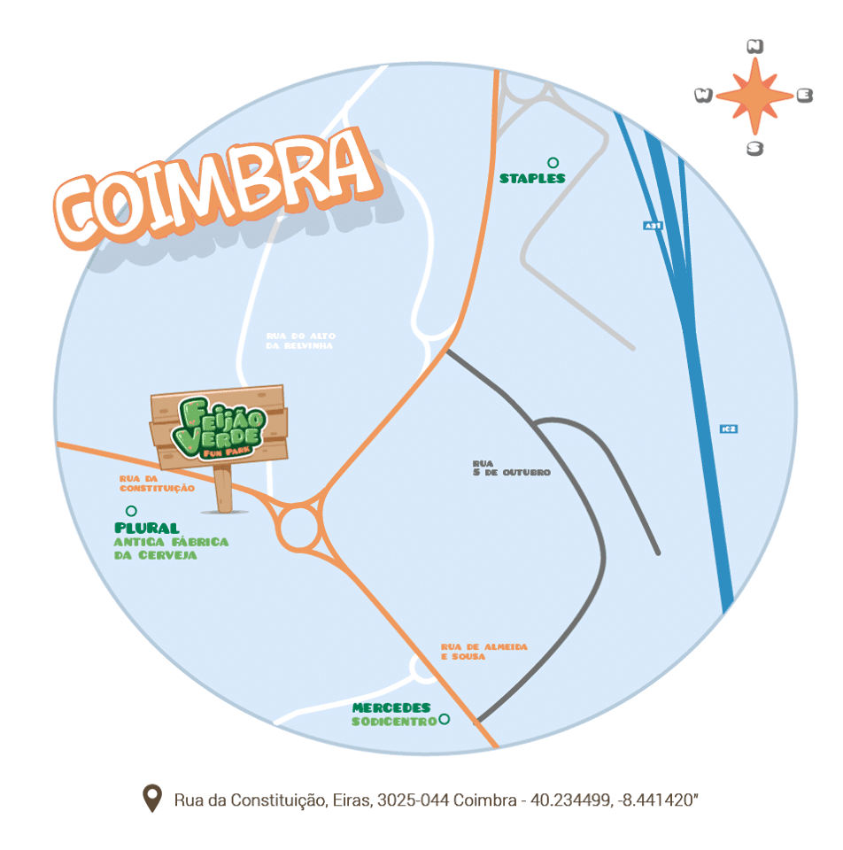 Mapa Fun Park Coimbra - festa aniversário