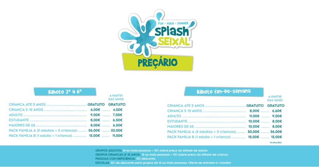 preçário 2018 aqua splash seixal
