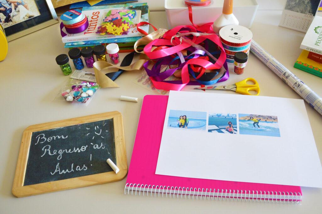 DIY caderno escolar argolas material