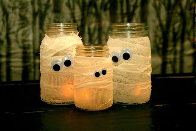 jarras mumia decoração halloween