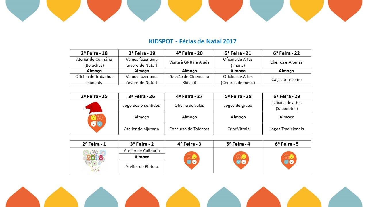 Kidspot-Natal-2017 programação