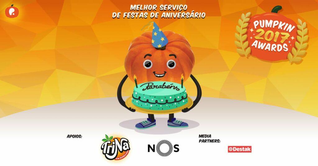 Vote no melhor serviço de festas de aniversário nos Pumpkin Awards 2017
