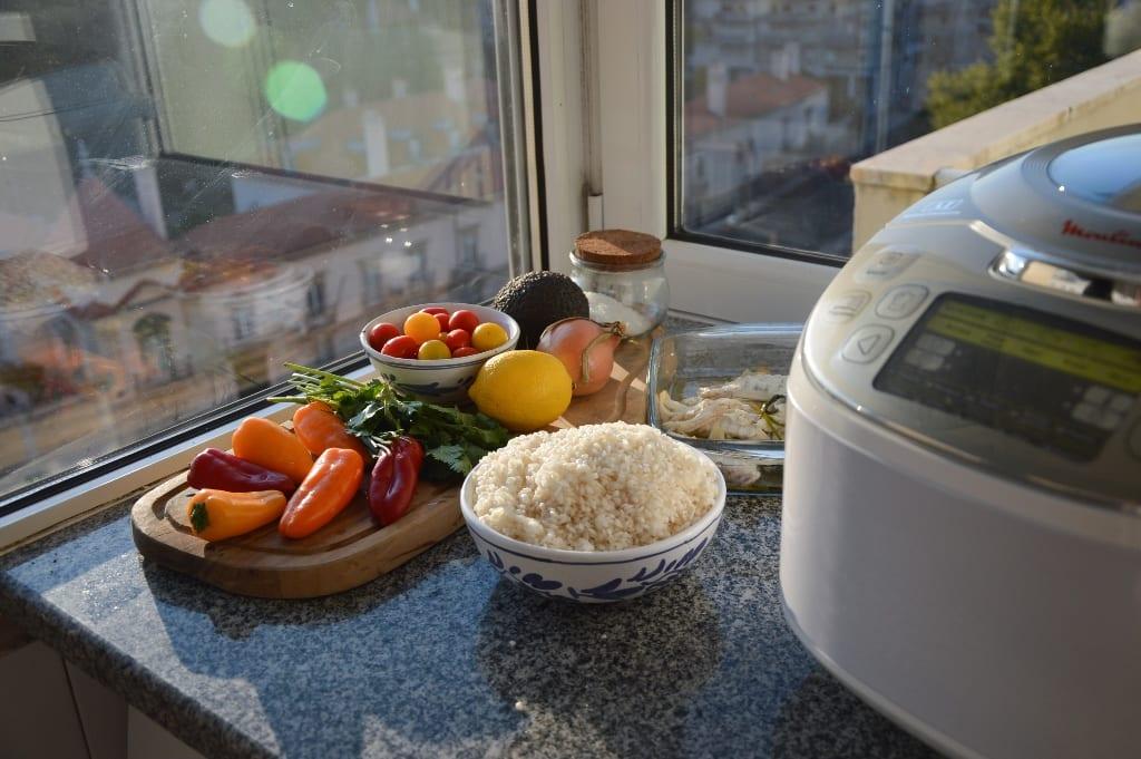 Ingredientes - arroz de peixe multicooker