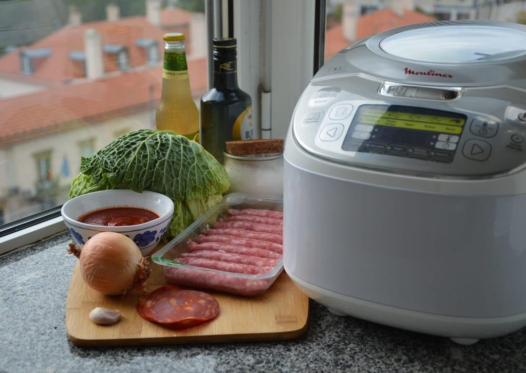 receita de salsichas frescas embrulhadas em coube lombarda com sidra de maçã