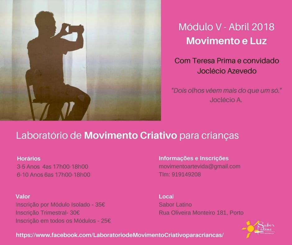 Lab. Movimento Criativo para crianças – Módulo V: Movimento e Luz