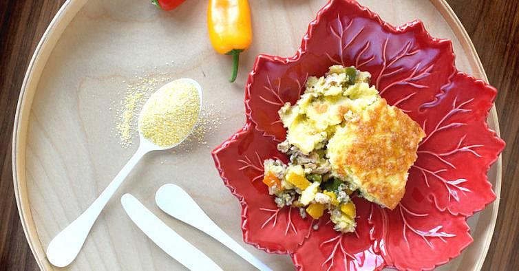 empadão de polenta com peru e pimento