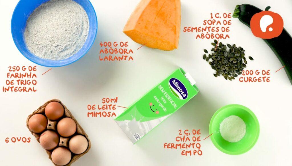 Ingredientes Muffins de Abobora