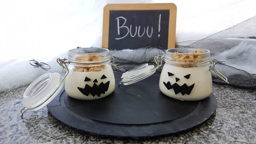 comida de halloween abóbora iogurte granola