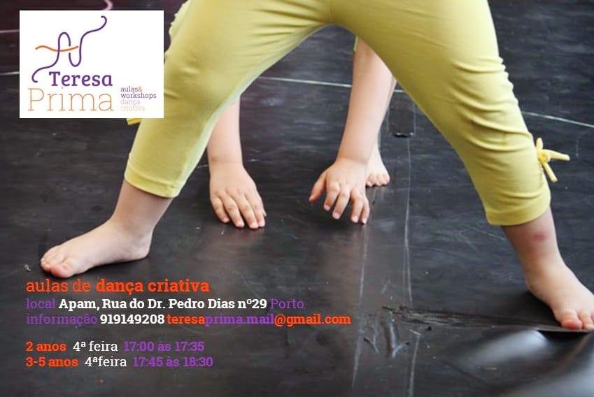 Aula semanal de Dança Criativa para crianças dos 2 aos 5 anos