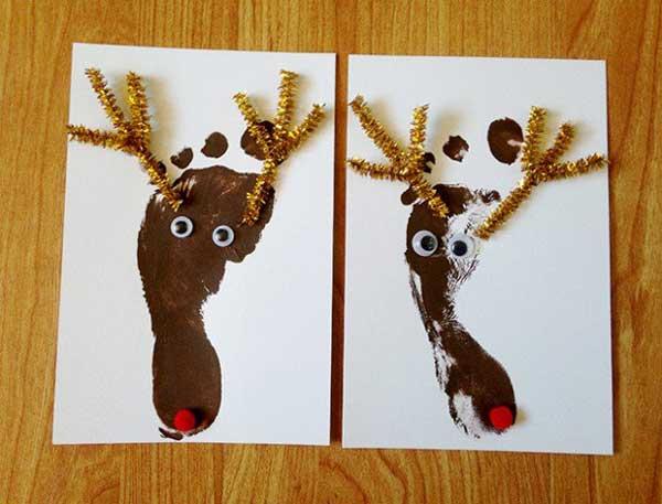 postais de natal com pegadas