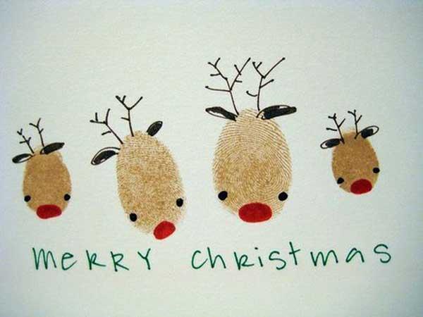 postais de natal com impressões digitais