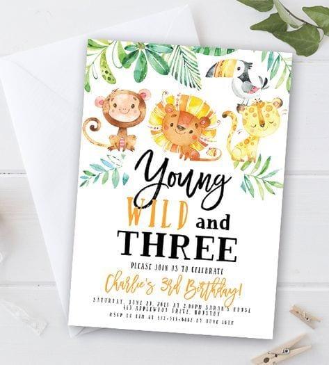 convite de aniversário para imprimir animais