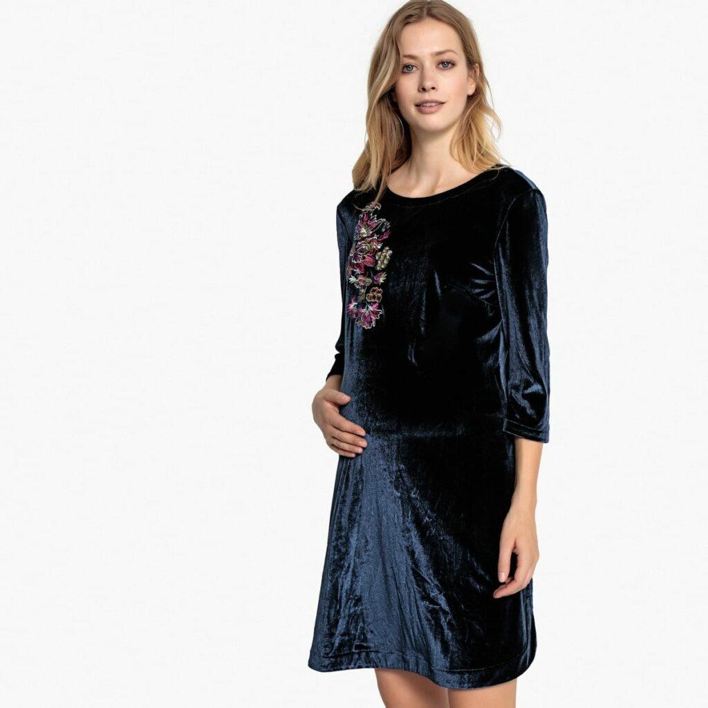 vestido veludo grávida