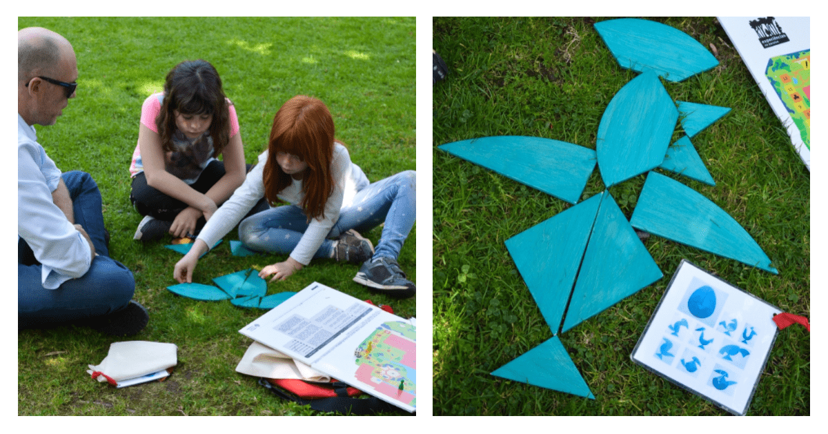 Visita jogo no jardim gulbenkian - tangram
