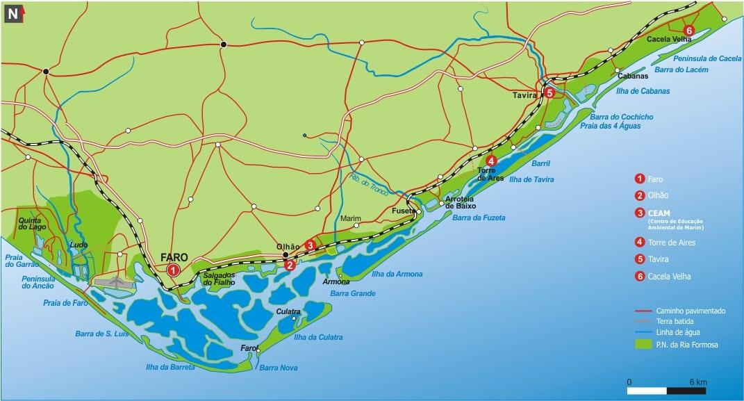 mapa parque natural da ria formosa