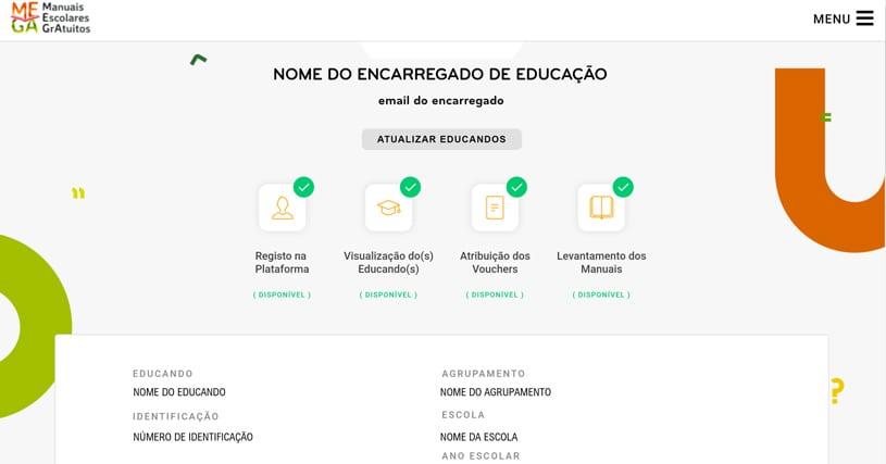 manuais escolares gratuitos - visualização dos educandos na plataforma mega