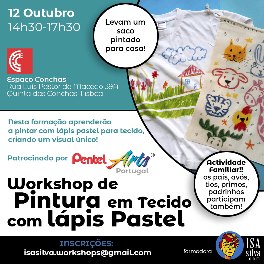 Workshop de pintura em tecido para crianças com lápis pastel