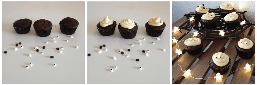 cupcakes chocolate de halloween como montar
