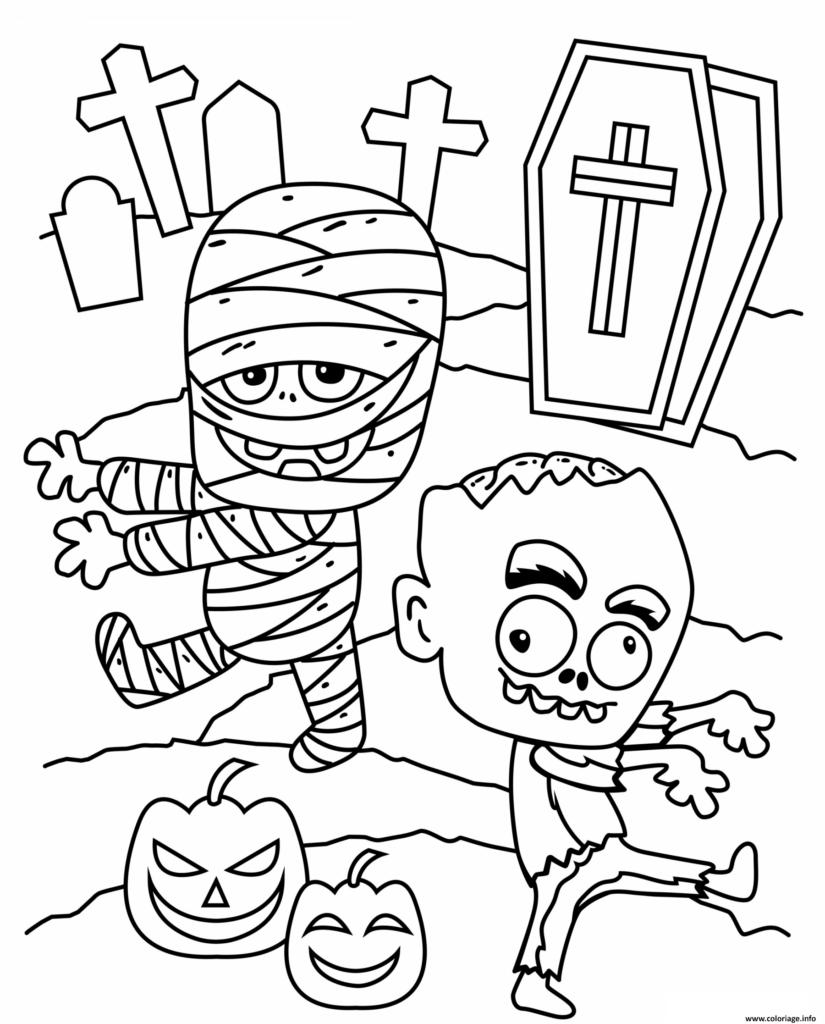 desenhos de halloween múmia e zombie