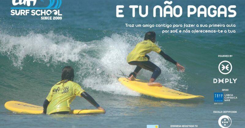 Aula de Surf – Promoção Traz um Amigo e Tu Não Pagas!