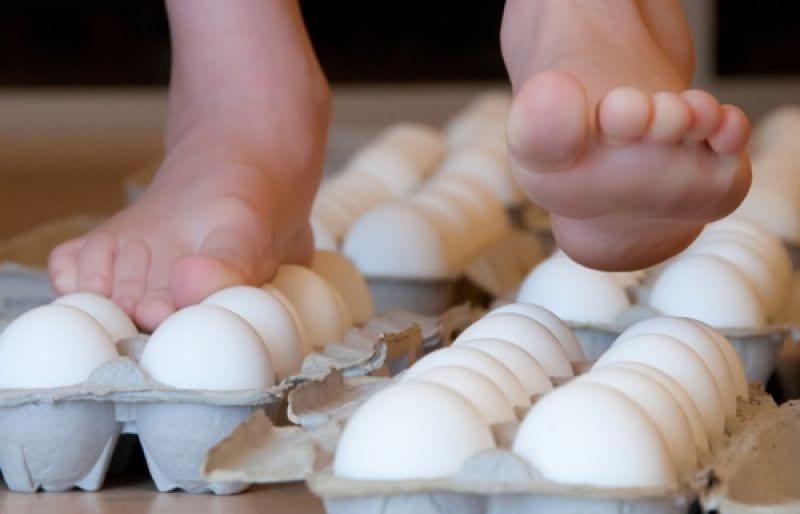 caminhar sobre ovos