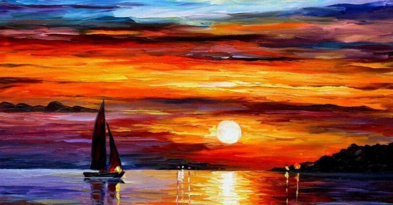 Workshop Online de Pintura em Família: Pôr-do-sol   Afremov