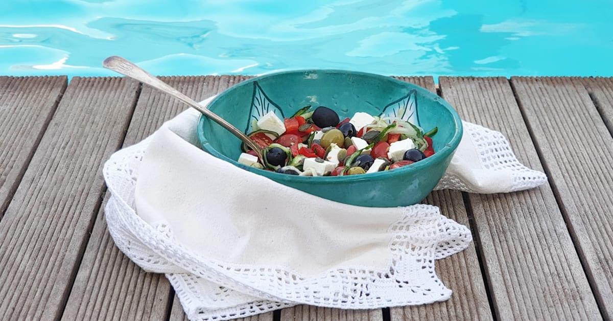 receita saudável com espiralizador -salada grega