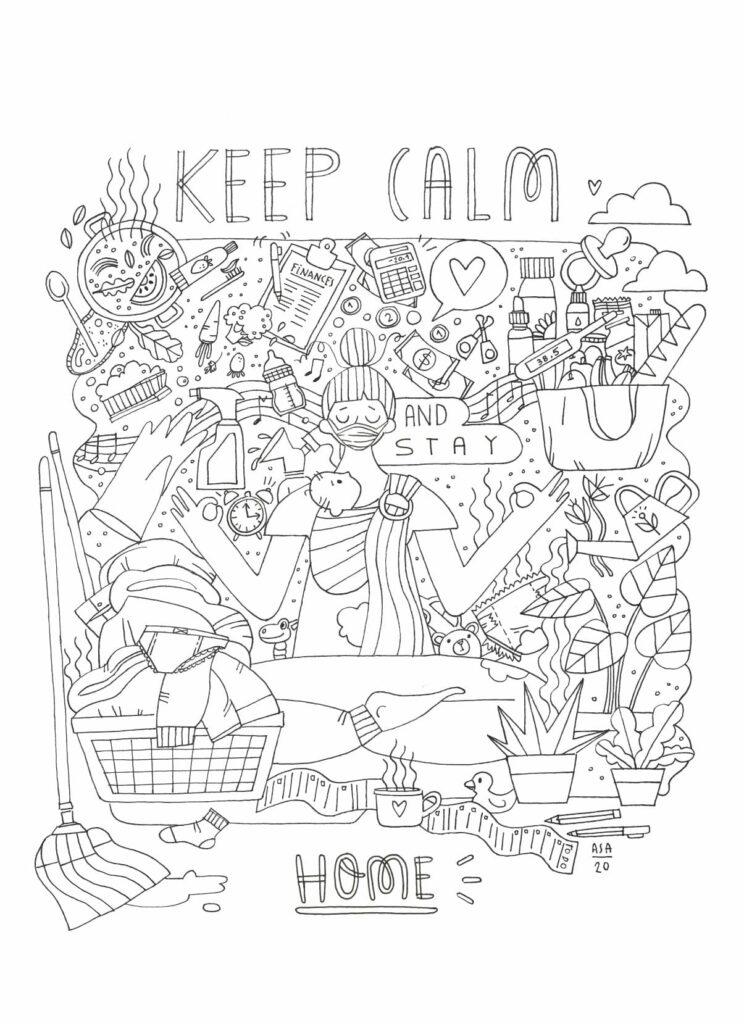 Desenhos para imprimir e colorir em família - Keep Calm and Stay Home, por Ana Sílvia Agostinho