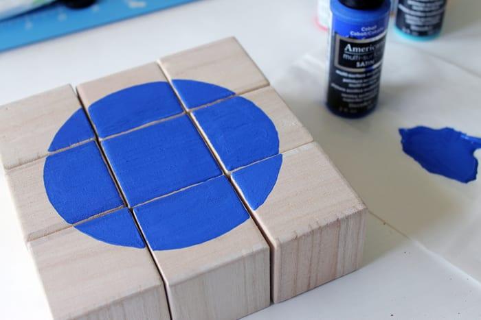 puzzle personalizado em blocos de madeira