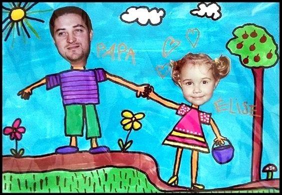 postais dia do pai desenho com fotografia