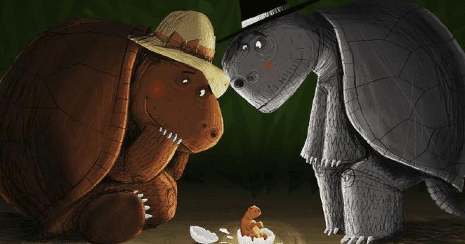 A tartaruga Celeste e o menino que chorava música.